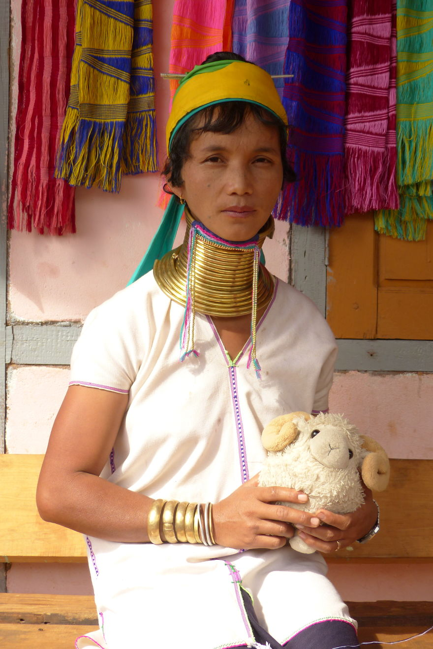 Long-Neck Padaung Woman And Me In Loikaw, Myanmar