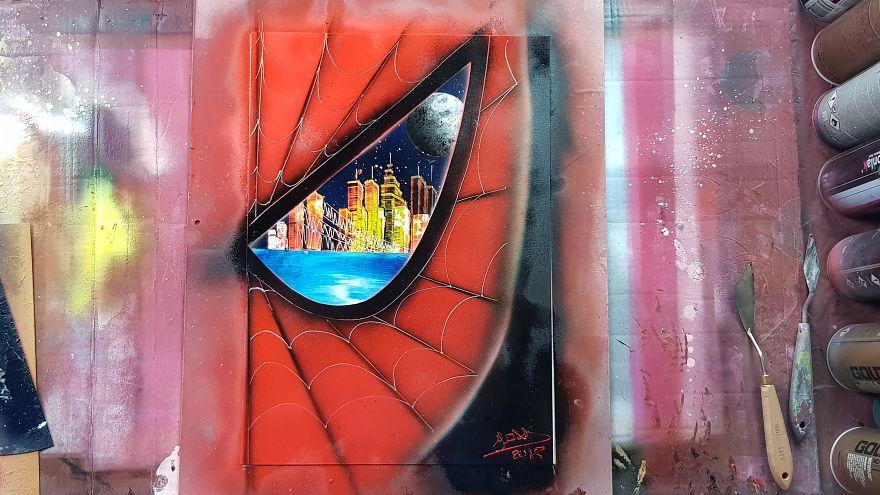 spiderman spray paint art bored panda