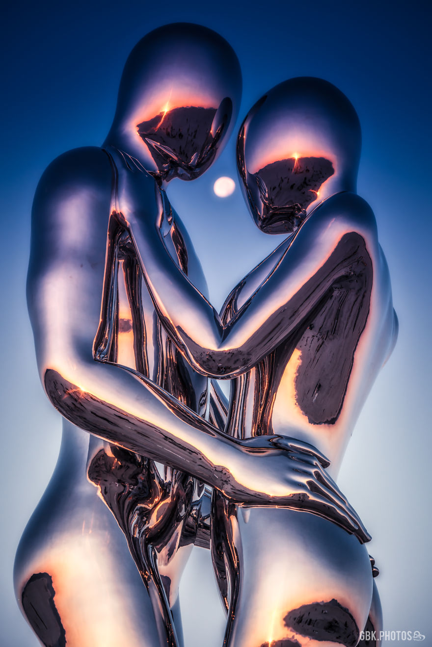 """The Moon And """"In Every Lifetime I Will Find You"""" Sculpture By Michael Benisty"""