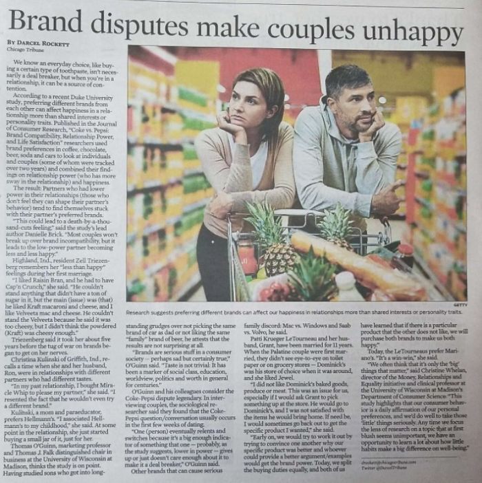 "Found In The Chicago Tribune: ""Brand Disputes Make Couples Unhappy"""