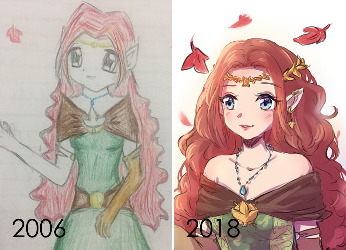 I've Never Really Redrawn An Old Artwork Of Mine Even Though I Love Seeing Them From Other Artists. So I Gave It A Shot And Tried To Keep Pose And Palette Similar. 12 Years Of Difference