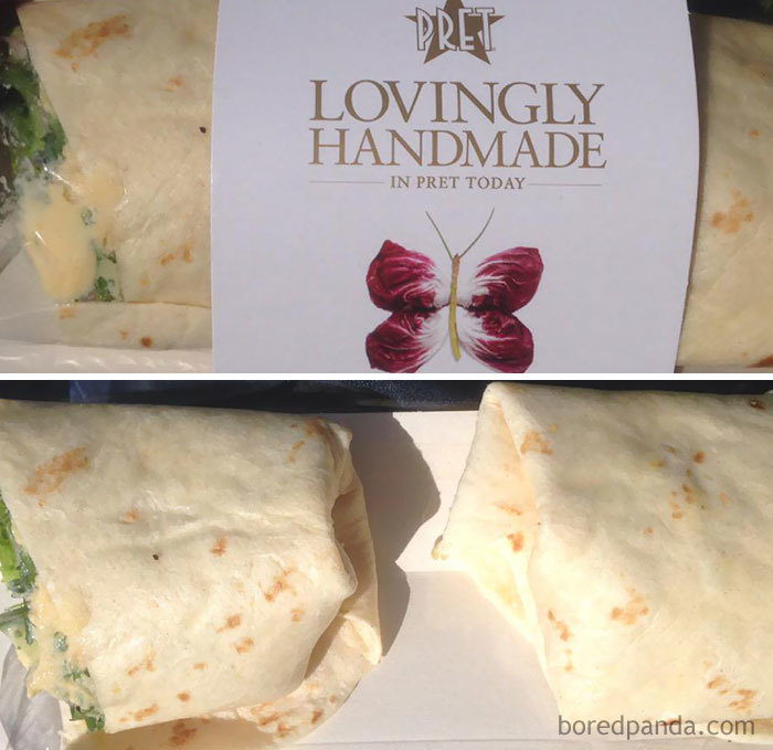 Dear Pret - Do You Consider The Packaging Of Your Hummus Wrap Is Misleading? Mind The Gap
