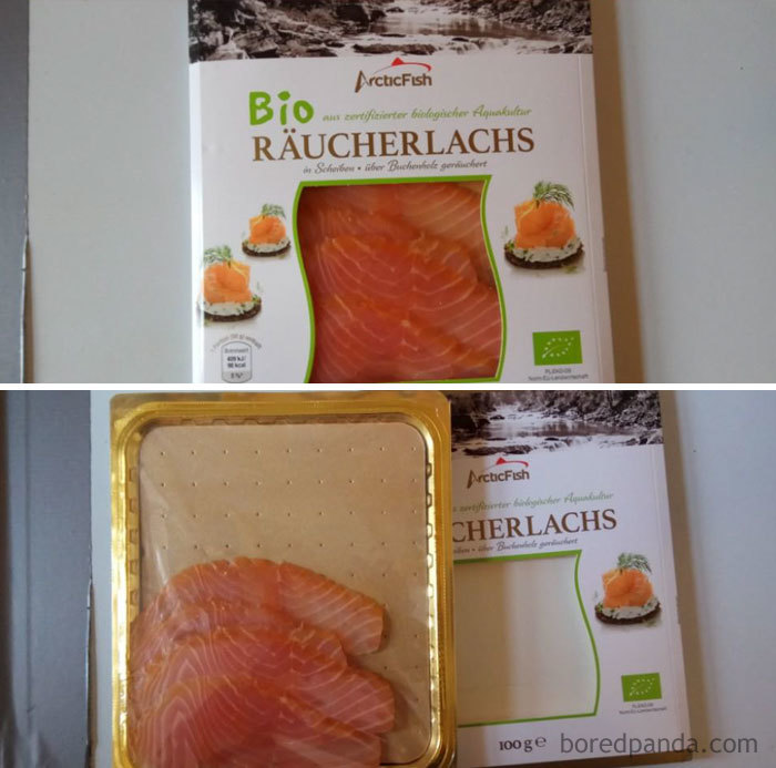 Smoked Salmon: Big Packaging For 4 Small Pieces