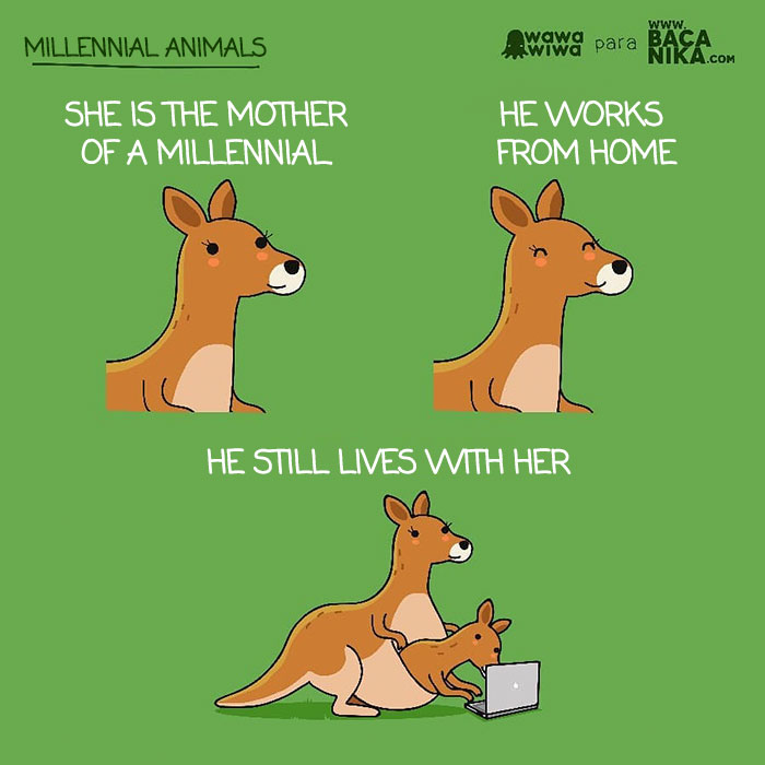 Millennial Animals ... She Is The Mother Of A Millennial. ... He Works From Home. ... He Still Lives With Her.