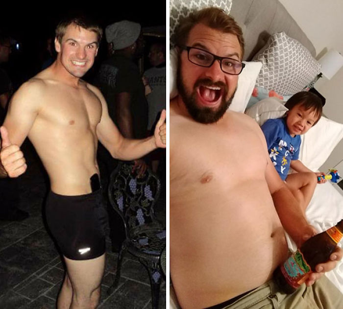 De 65 a 81 kilos, casado y con 2 hijos en 4 años