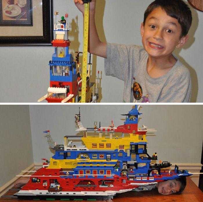 Mi padre encontró esta foto de un barco que hicimos juntos y era tan largo como yo y medía 76 cms de alto