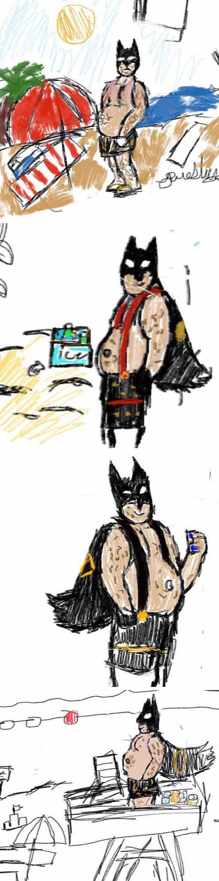 Mi hija de 11 años ha empezado a dibujar a Batman gordo y de mediana edad en la playa