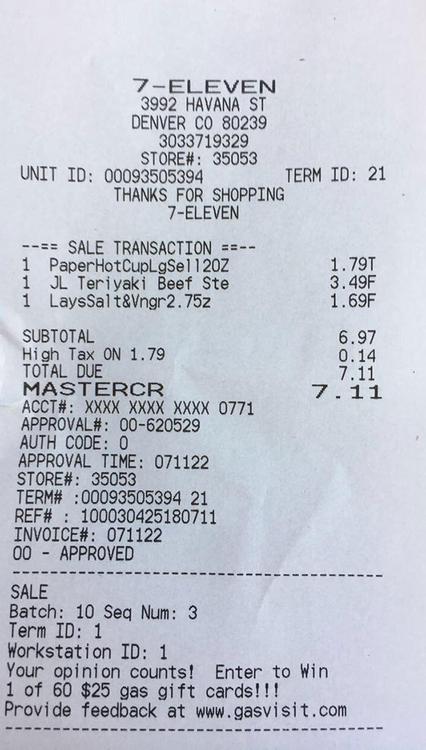 I Spent $7.11 And At A 7-Eleven At 7:11 Am