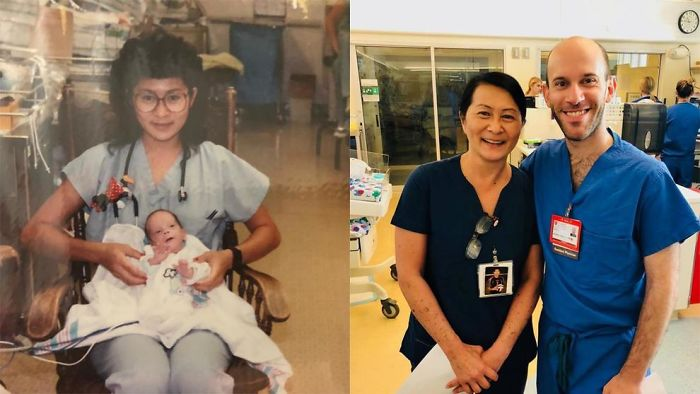 Nurse Save A Baby Born Too Early 28 Years Ago, He Came Back As Pediatric Doctor In The Same Hospital, Now They Are Colleagues.