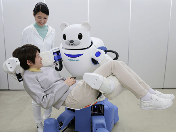 Japan Is A Rapidly Ageing Population And Is Running Out Of Workers To Take Care For Elders. They Are Solving This Problem With Robots. One Of Them - Robear - Is Able To Lift A Parson And Transfer Him To A Wheelchair Or Help To Get To A Bathroom