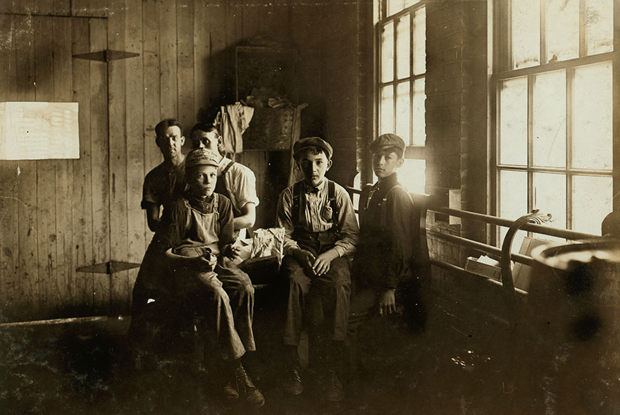 Noon Hour In An Indianapolis Furniture Factory. Aug., 1908. Wit., E. N. Clopper. Location: Indianapolis, Indiana
