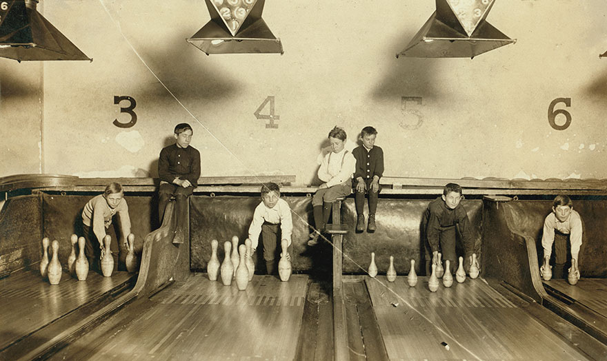 Photo Of Boys Working In Arcade Bowling Alley, Trenton, N.j. Photo Taken Late At Night. The Boys Work Until Midnight And Later. Location: Trenton, New Jersey