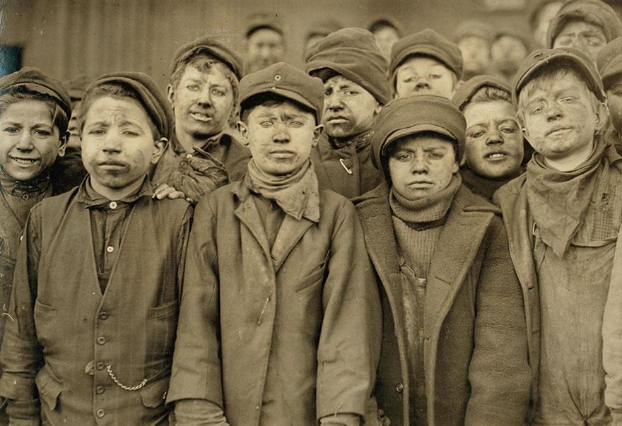 Breaker Boys In #9 Breaker, Hughestown Borough, Pa. Coal Co. Smallest Boy Is Angelo Ross. Location: Pittston, Pennsylvania