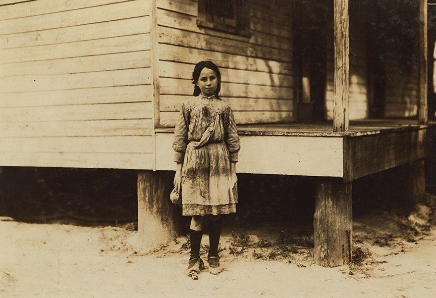 Lillian Dambrinio, An Eleven-Year-Old Shrimp Picker In Peerless Oyster Co. She Is An American And Lives Here. Says Picking Makes Her Hands Sore. Location: Bay St. Louis, Mississippi