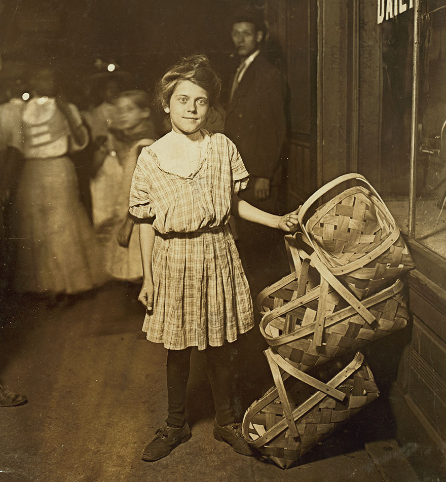 """""""Basket ! Five Cents Each!"""" Antoinette Siminger, 12 Years Old, 4219 Glenway Ave., Price Hill, Sixth St., Market, Cincinnati. 10 P.m. Had Been Selling Since Morning. Location: Cincinnati, Ohio"""