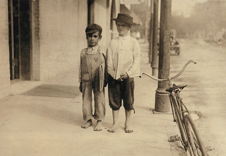 Sonny And Pete Newsboys. One Is Six Years Old. They Began At 6:00 A.m. Location: San Antonio, Texas