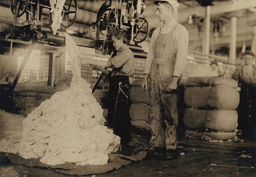 Young Boy On Warping Machine Elk Cotton Mills. Location: Fayetteville, Tennessee