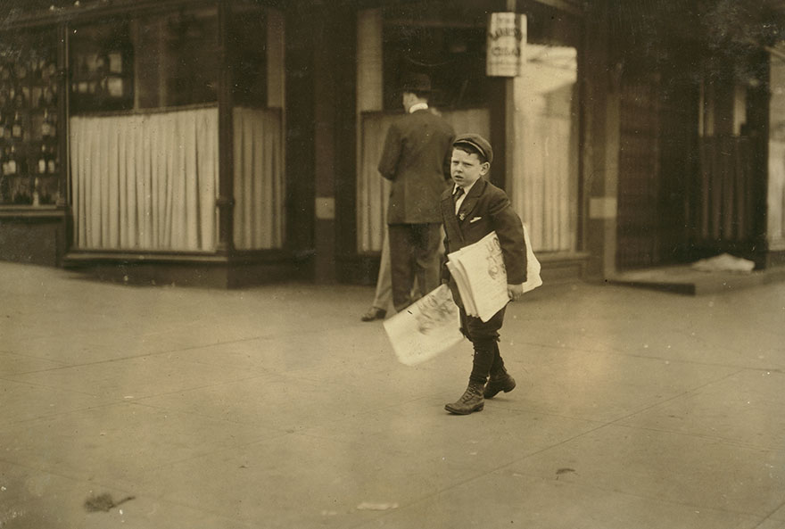 Israel April, 9 Yr. Old Newsboy With No Badge. Been Selling For Several Years. I Found Him Selling After Midnight April 17th And 18th. Quite A Pugnacious Little Chap. He And His Brother Are Said To Have A Large Clientele Among Ambassadors And Senators. Location: Washington (D.c.)