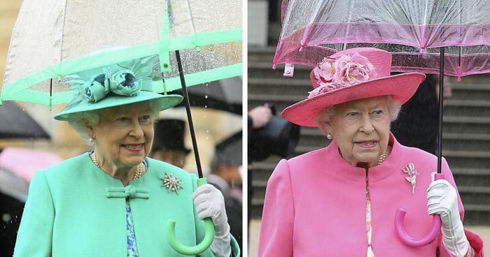 Se dan cuenta de algo curioso sobre el atuendo de la Reina de Inglaterra, y no nos lo quitamos de la cabeza (15 imágenes)