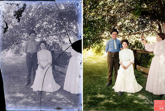 Texas Couple, Early 20th Century, Heavy Restoration