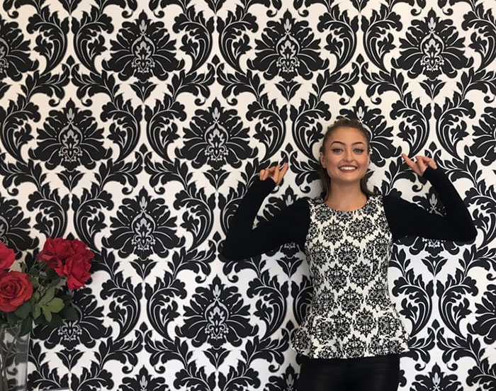 Our Enthusiastic Trainee Chiara, Came Into Work Today Wearing The Same Patterned Top As Our Wall Paper