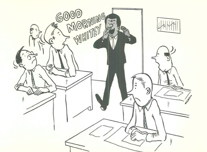 vintage comics black man office integration tom floyd103 5b9a08fdb02b5  700 - This Black Man Drew What It Was Like Being The Solely Black Man In A White Workplace In The 60s, And It's Worse Than You Suppose