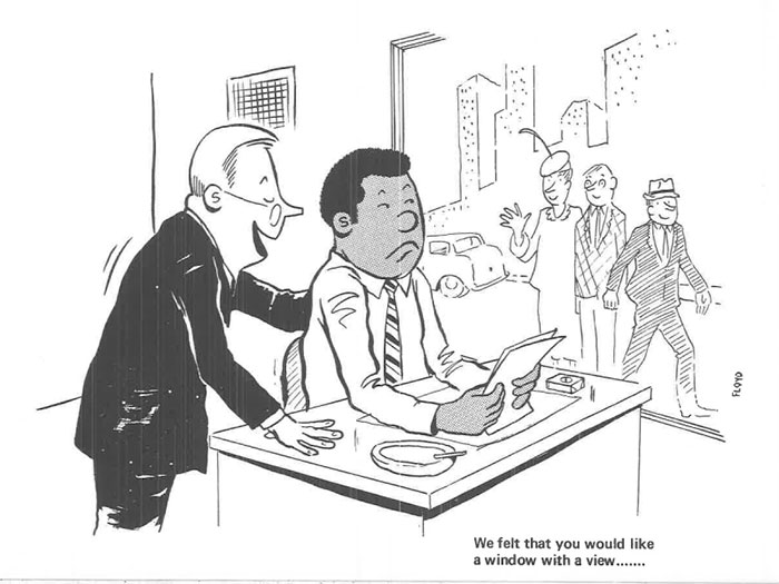 vintage comics black man office integration tom floyd13 5b9a0844160b1  700 - This Black Man Drew What It Was Like Being The Solely Black Man In A White Workplace In The 60s, And It's Worse Than You Suppose