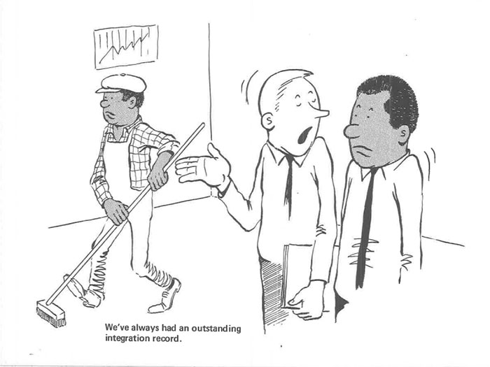 vintage comics black man office integration tom floyd17 5b9a084a30bff  700 - This Black Man Drew What It Was Like Being The Solely Black Man In A White Workplace In The 60s, And It's Worse Than You Suppose