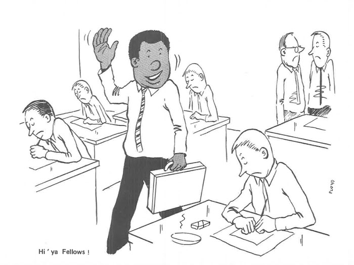vintage comics black man office integration tom floyd21 5b9a0850c05db  700 - This Black Man Drew What It Was Like Being The Solely Black Man In A White Workplace In The 60s, And It's Worse Than You Suppose
