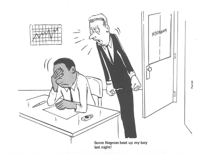 vintage comics black man office integration tom floyd28 5b9a085b6a18e  700 - This Black Man Drew What It Was Like Being The Solely Black Man In A White Workplace In The 60s, And It's Worse Than You Suppose