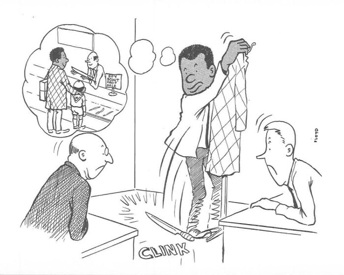 vintage comics black man office integration tom floyd47 5b9a088009f82  700 - This Black Man Drew What It Was Like Being The Solely Black Man In A White Workplace In The 60s, And It's Worse Than You Suppose