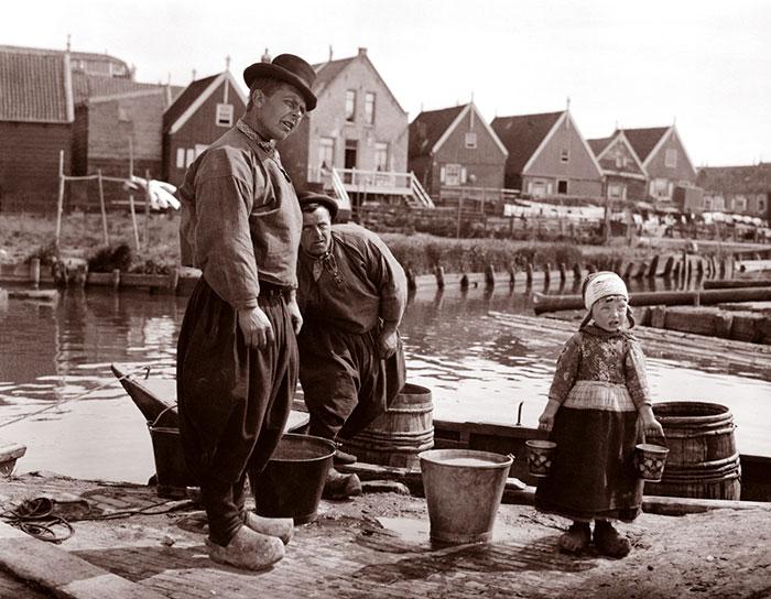 Men And Girl On The Docks, Marken, Netherlands