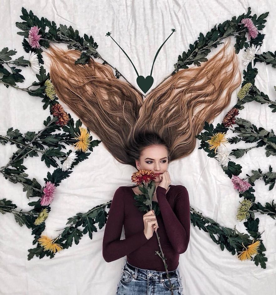 With Lots Of Creativity And Lightness, Woman Makes Incredible Photos With Her Hair On Instagram