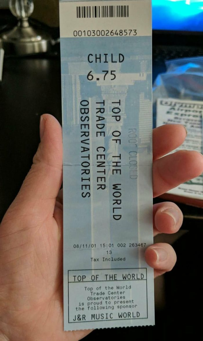 My Girlfriend Found An Old Ticket Stub Of Hers To The Top Of The World Trade Center Dated 08/11/01