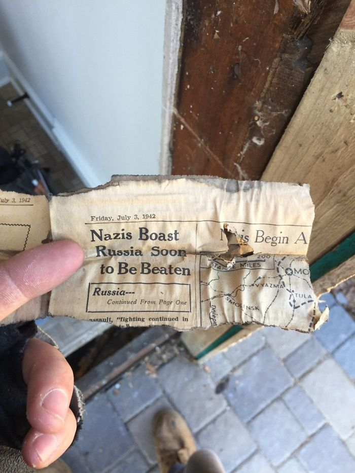 Newspaper From July 3, 1942 Used As Insulation In A House That Was Built Then