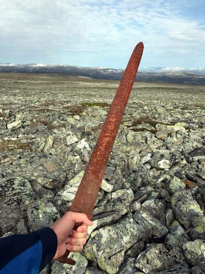 A Viking Sword Dating Back Over 1,000 Years Ago Was Discovered By Reindeer Hunters At An Elevation Of 5,400 Feet, Atop A Mountain In Southern Norway