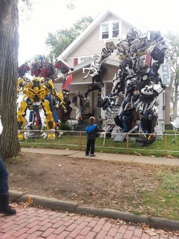 Halloween Decorations In My Neighborhood. This Guy Makes These By Hand And Puts Them Up Every Year