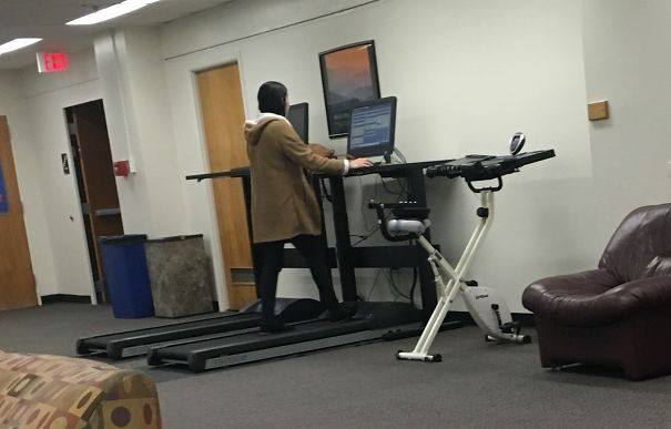 Basement Floor Of My Campus Library Has A Treadmill With A Computer, So You Can Exercise & Study At The Same Time