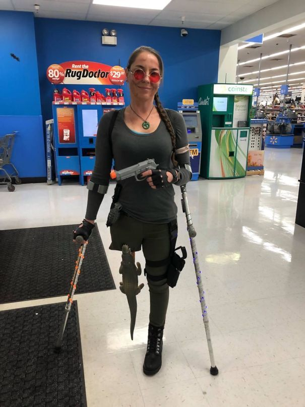 A Little Late But My Wife Dressed Up As Lara Croft For Halloween. She's An Amputee So She Improvised
