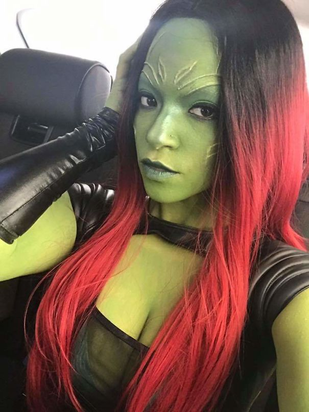 My Friend Dressed Up As Gamora From Guardians Of The Galaxy