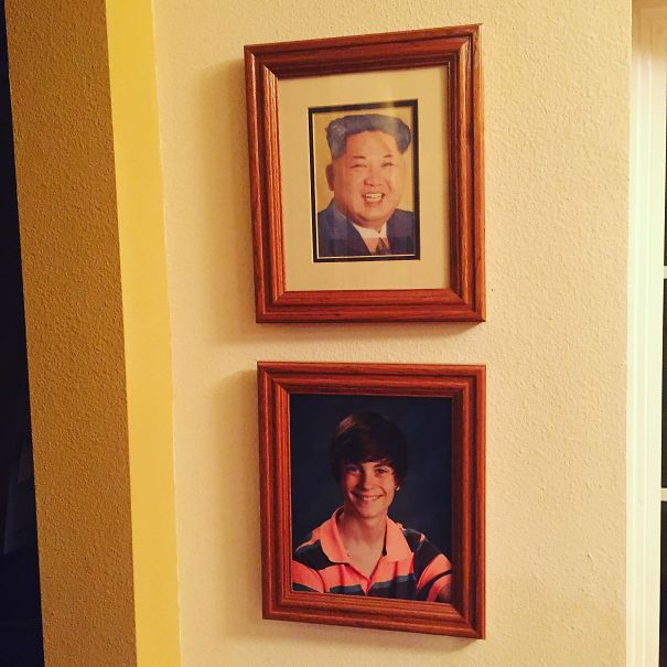 Replaced My Little Sisters Graduation Photo With One Of The Supreme Leader 3 Weeks Ago. Dad Still Hasn't Noticed