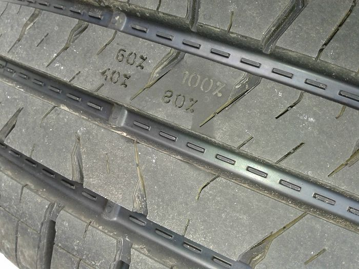 The Wear Indicators On My Tires Show A Percentage Representative Of The Amount Of Tread Left.