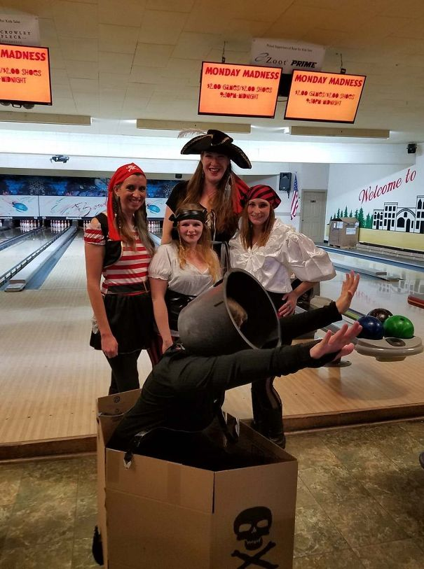My Wife Went To A Pirate Themed Charity Bowling Event But Decided Last Minute She Didn't Want To Dress Like A Pirate Since She Figured Everyone Else Would Be. So She Went As A Cannon