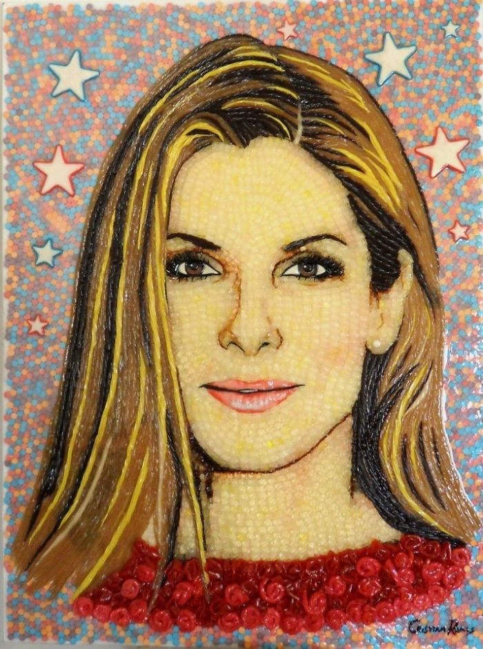Celebrity portraits made out of candy