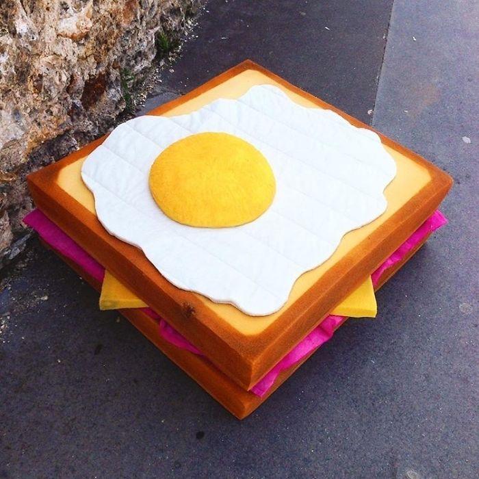 Artist Turns Abandoned Mattresses Into Food Sculptures
