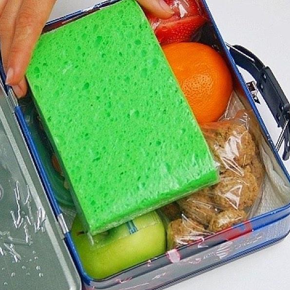 Una esponja congelada en una bolsa hermética mantendrá frío el almuerzo de tus hijos