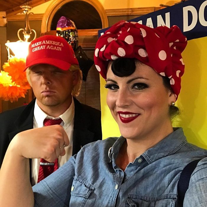 Cuando tu novio dice que va a ir de Trump y tu vas de Rosie la remachadora