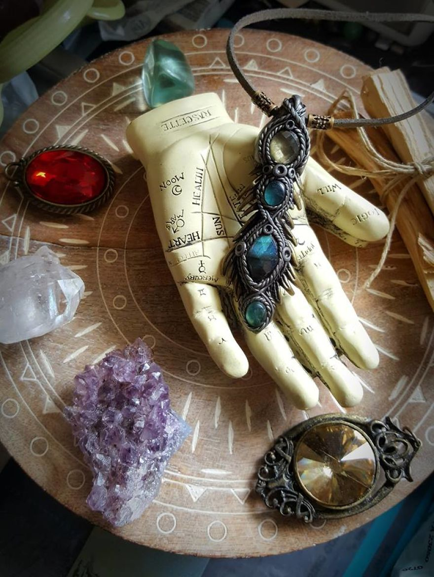 Clay Artist Turns Healing Crystals And Clay Into Stunning Pieces Of Wearable Artwork!