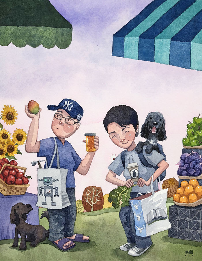 I Created A Watercolor Illustration For My Family's Baby Announcement, And Years Later Custom Illustrations Are My Business