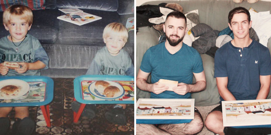 My Brother And I Recreated Childhood Photos As A Gift To Our Mom On Her 50th Birthday